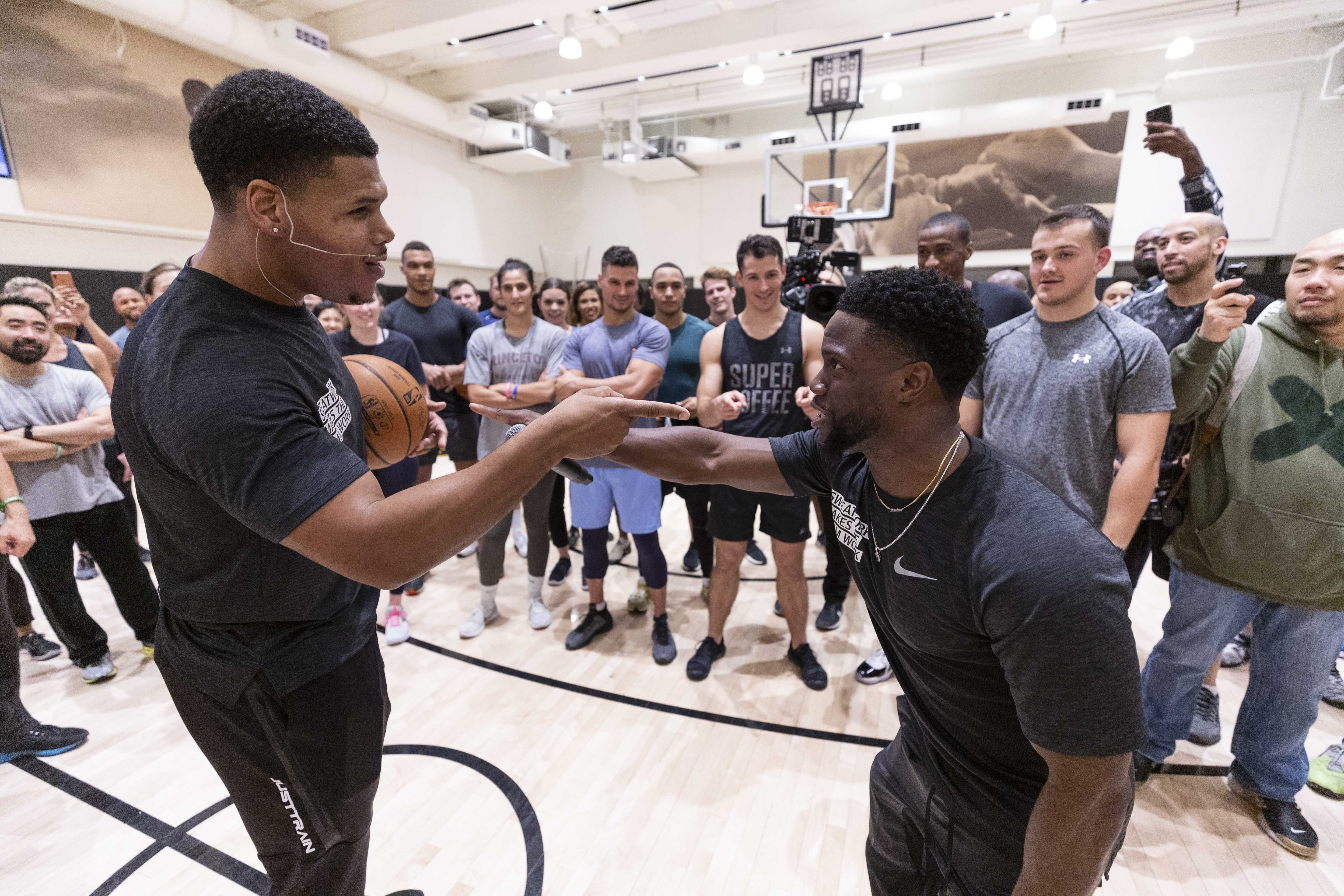 """JP Morgan Chase hosted their """"Sweatworking"""" event at the NBPA, which included a panel discussion featuring Kevin Hart, followed by an H.I.I.T class on court lead by Ron Boss Everline."""