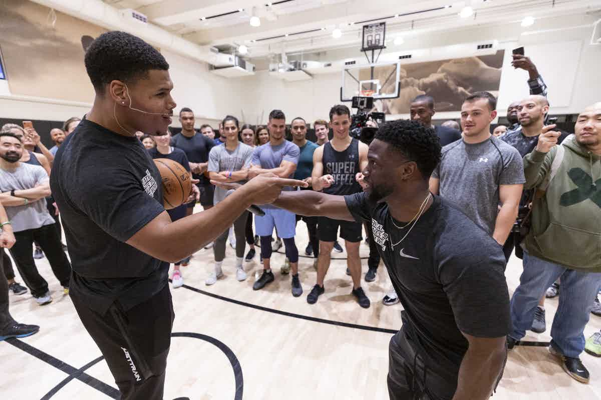 "JP Morgan Chase hosted their ""Sweatworking"" event at the NBPA, which included a panel discussion featuring Kevin Hart, followed by an H.I.I.T class on court lead by Ron Boss Everline."