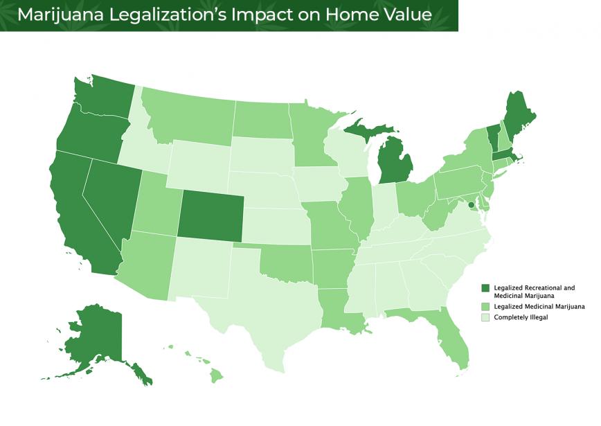 Map of US States With Marijuana Legalization