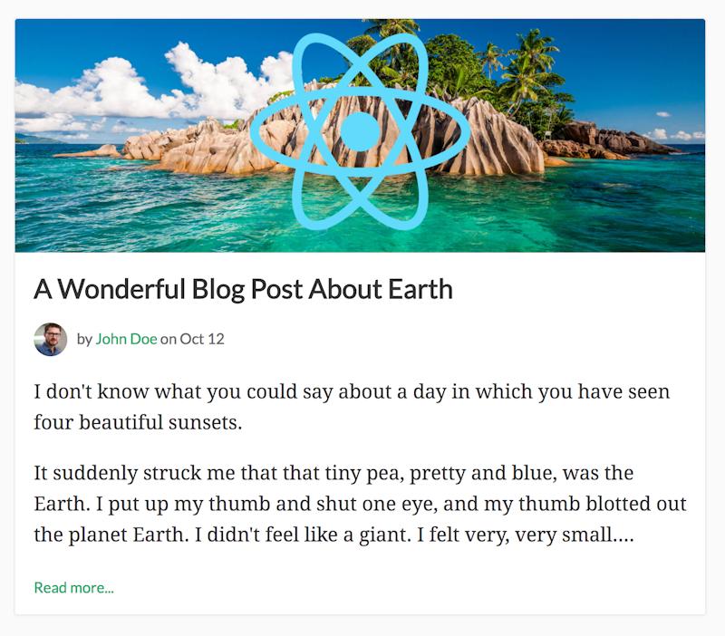 Simple React Blog | Cosmic JS Apps