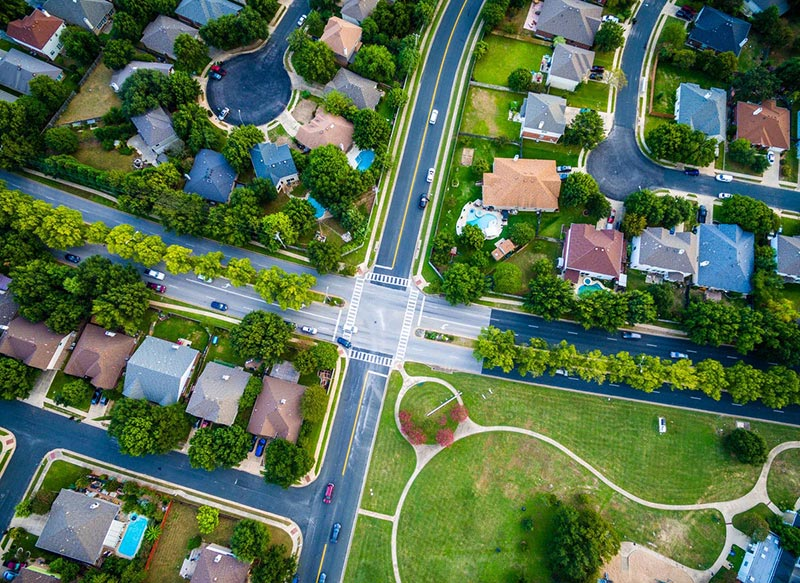 Top down view of a neighborhood in Round Rock Texas