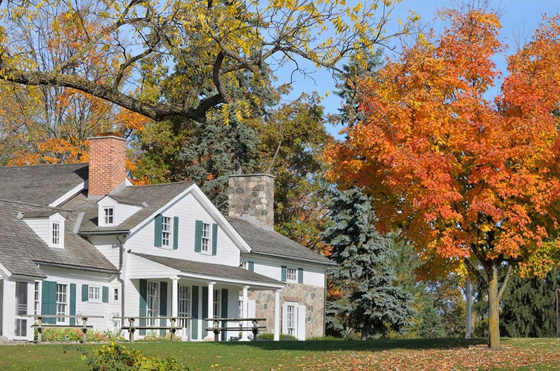 A house in the fall in Rochester Hills Michigan