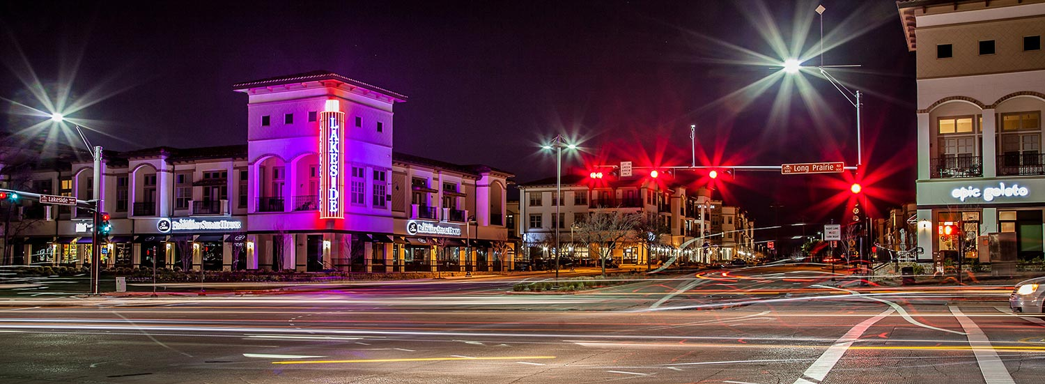 Night time city street in Flower Mound Texas