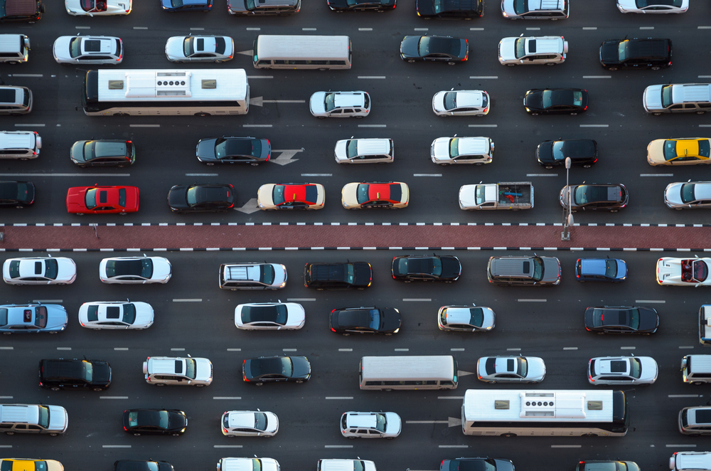 Top view of numerous cars in traffic jam