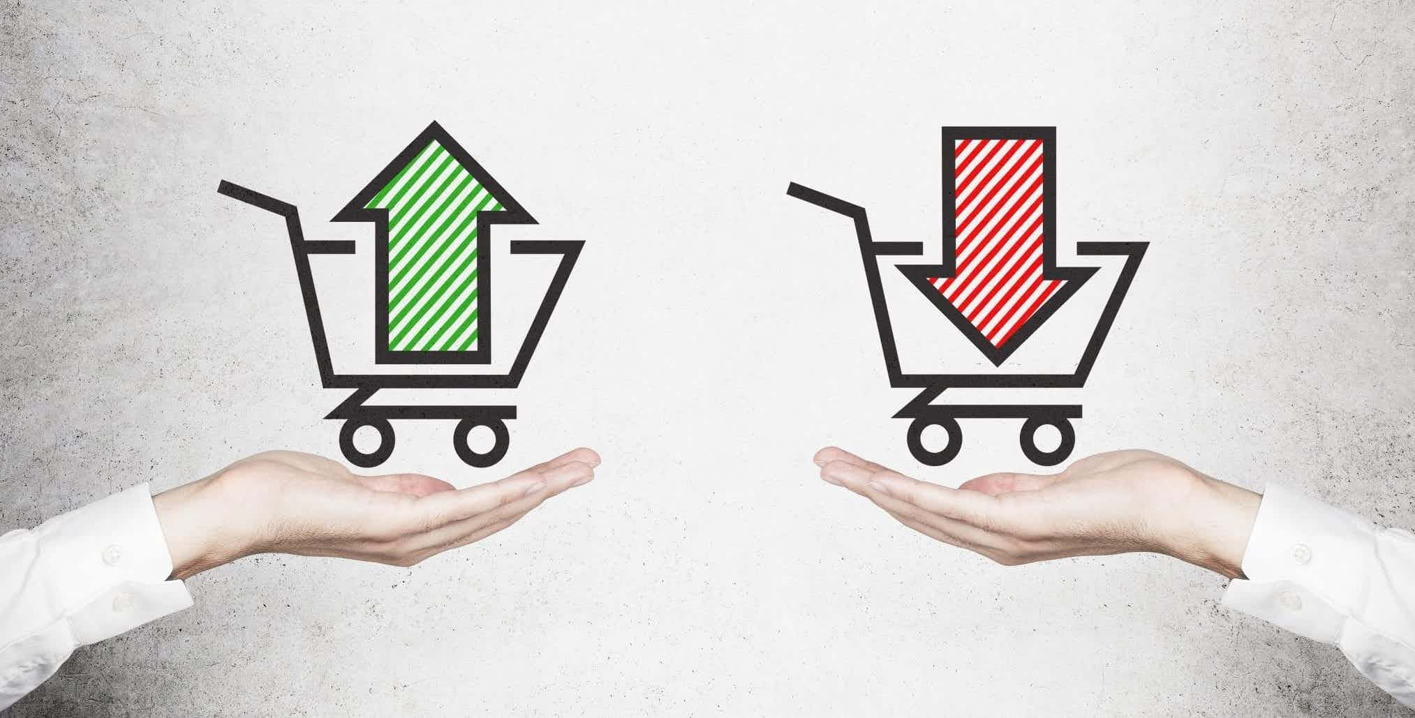 Green up arrow in cart and red down arrow in cart to represent buyer's and seller's market