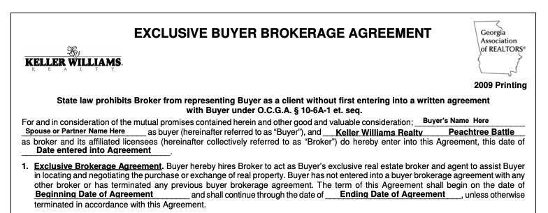 Buyer's agent agreement
