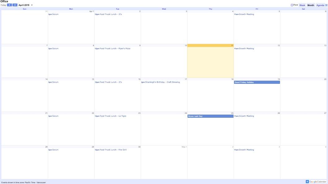 Google Calendar - Digital Signage App carousel 0