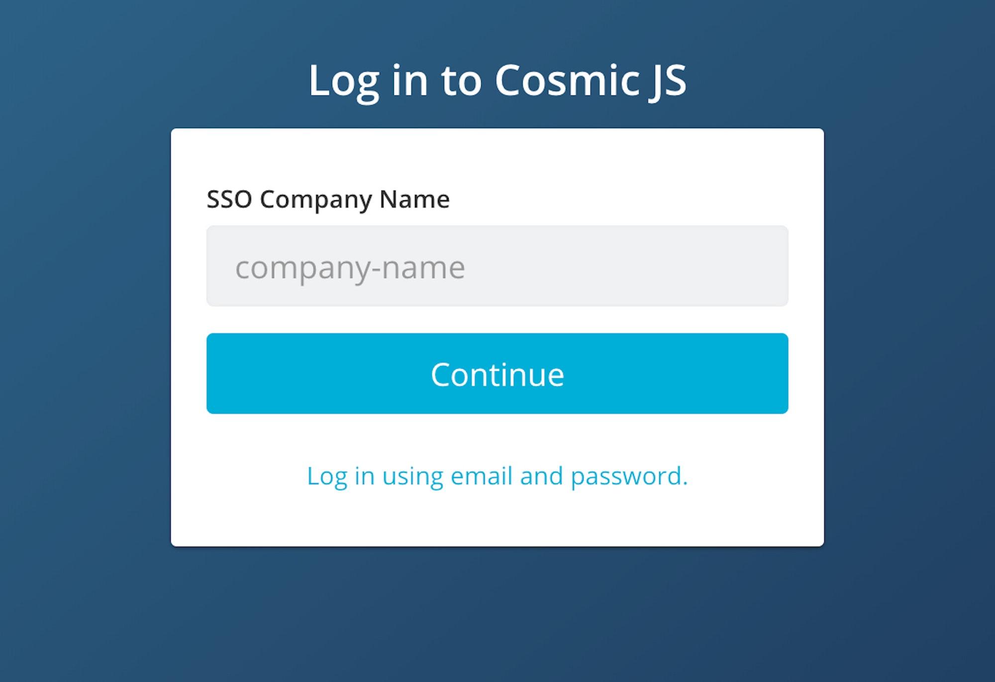 Headless CMS Single Sign On | Cosmic JS