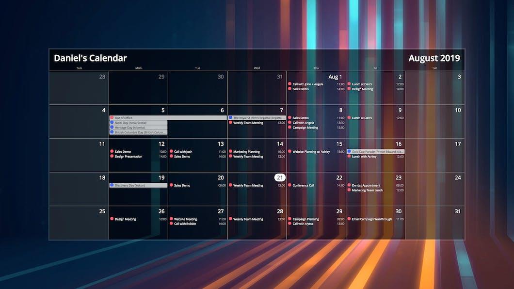 Calendar for Digital Signage carousel 2