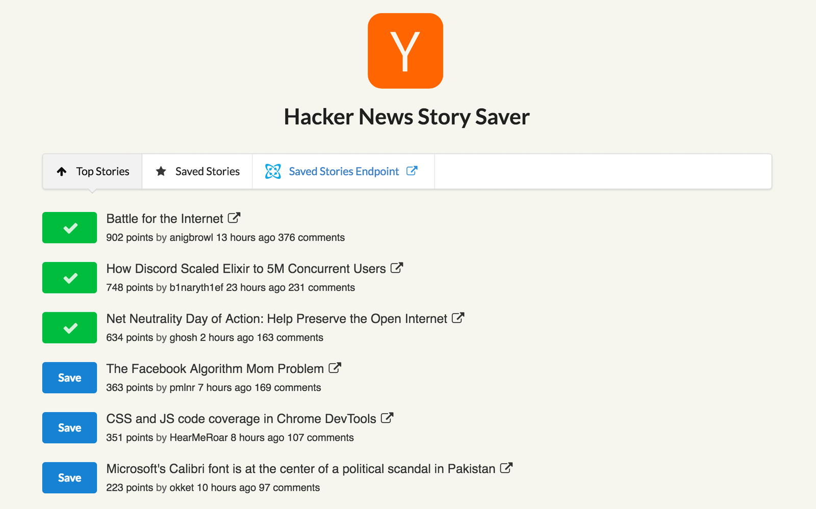 Hacker News Top Stories | Cosmic JS Extension