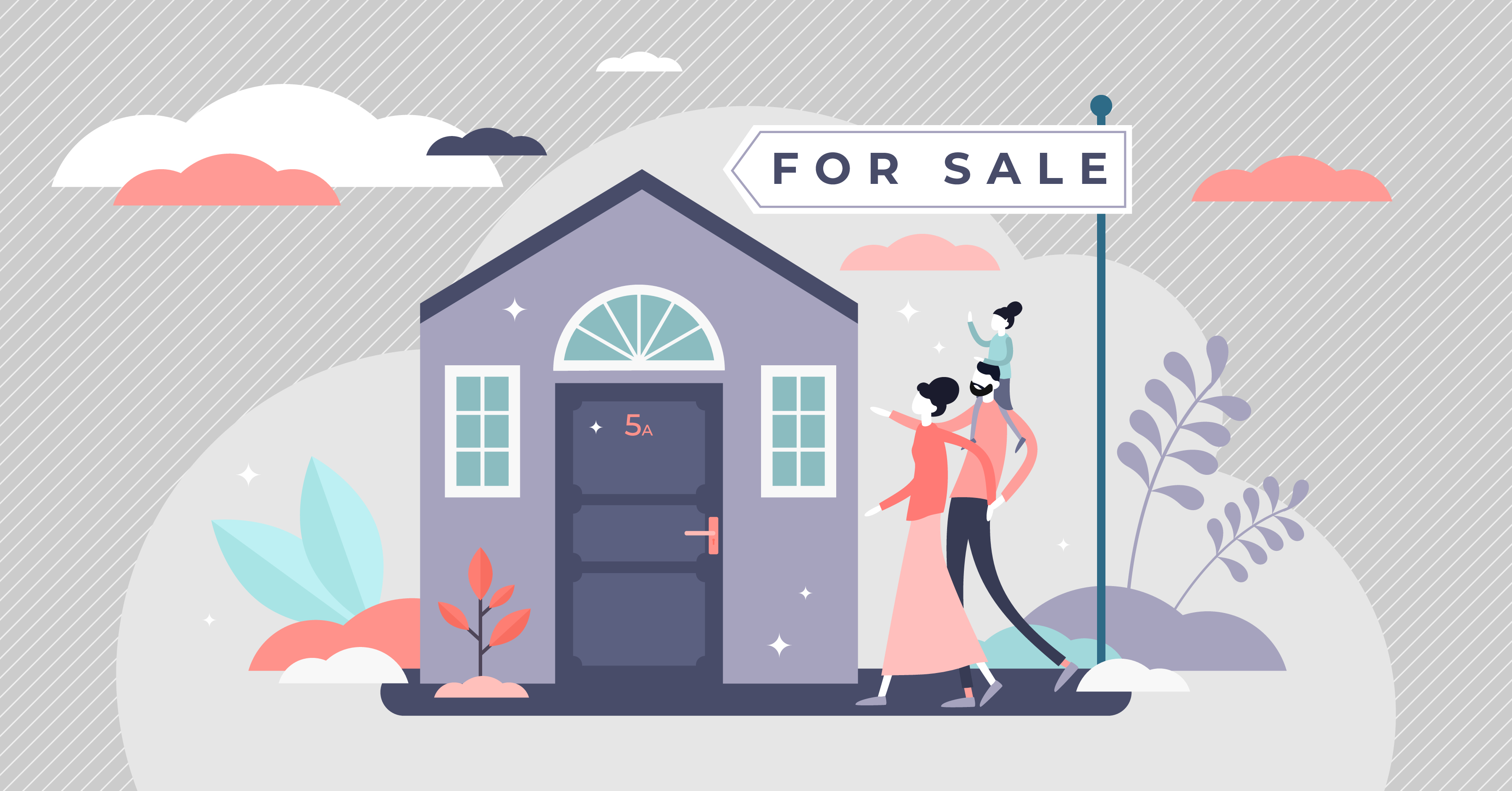 Buying a new house. Real estate agent giving a home keychain to a buyer. Modern flat style vector illustration isolated on white background.