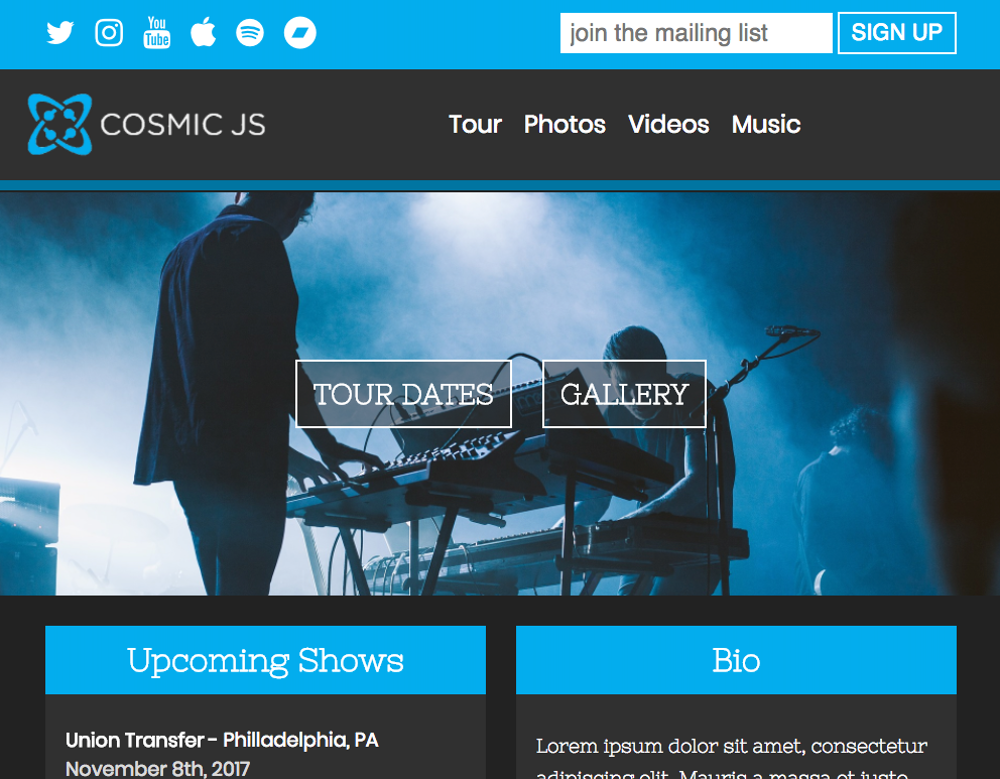 How to Build a Website for Your Band With Cosmic JS | Cosmic JS