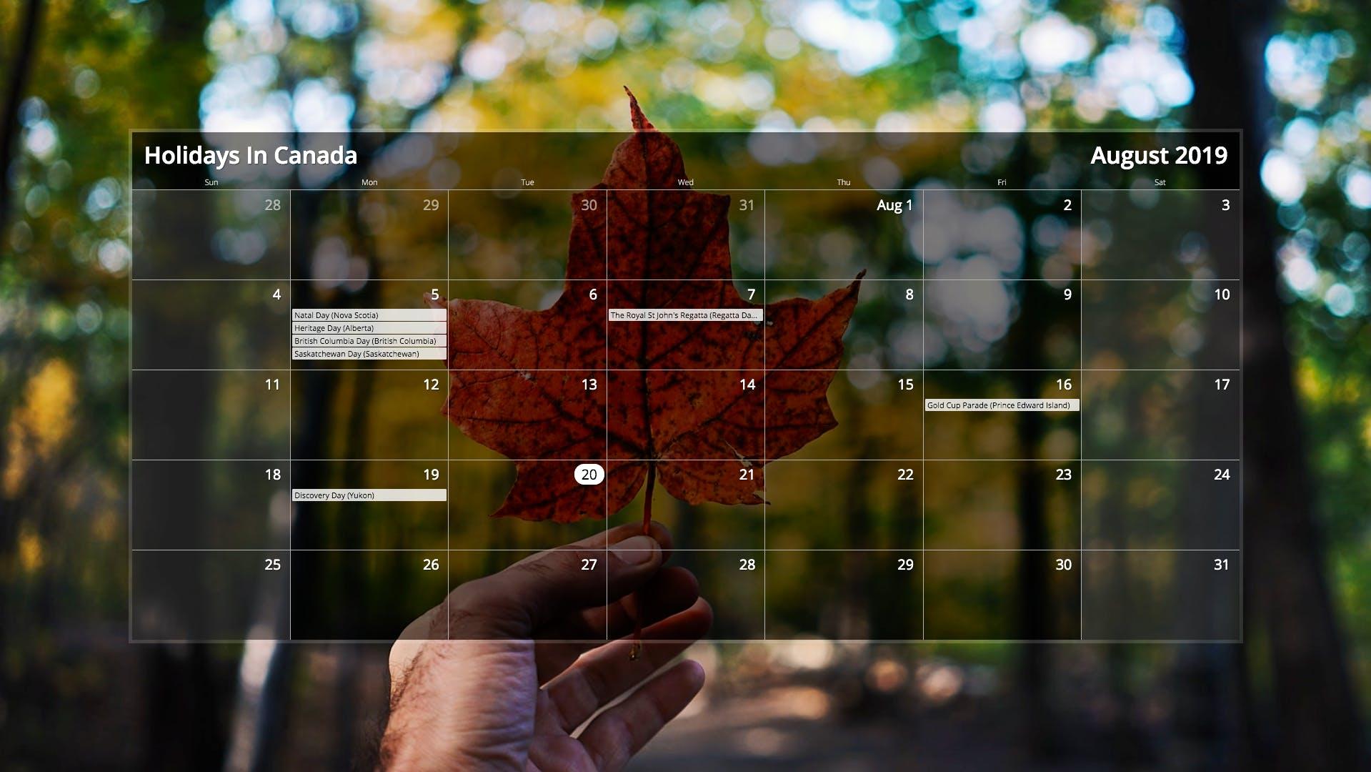 Calendar for Digital Signage image carousel