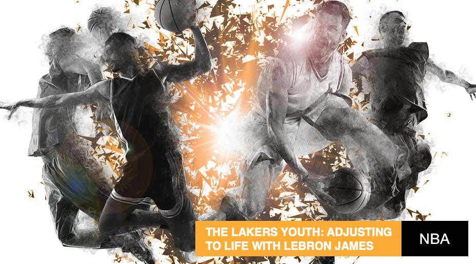 reputable site c8f08 ac9b2 The Lakers Youth: Adjusting to life with LeBron James